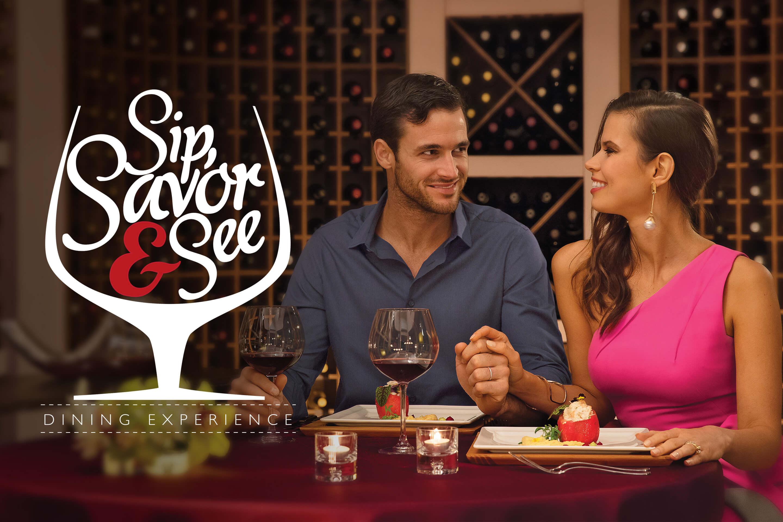 Pareja disfrutando de la experiencia gastronómica Sip, Savor & See