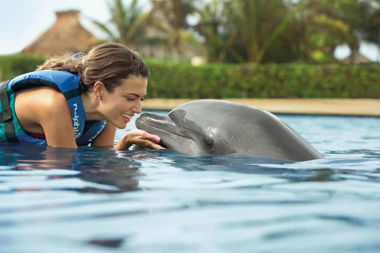 Fotografía de mujer besando a un delfín
