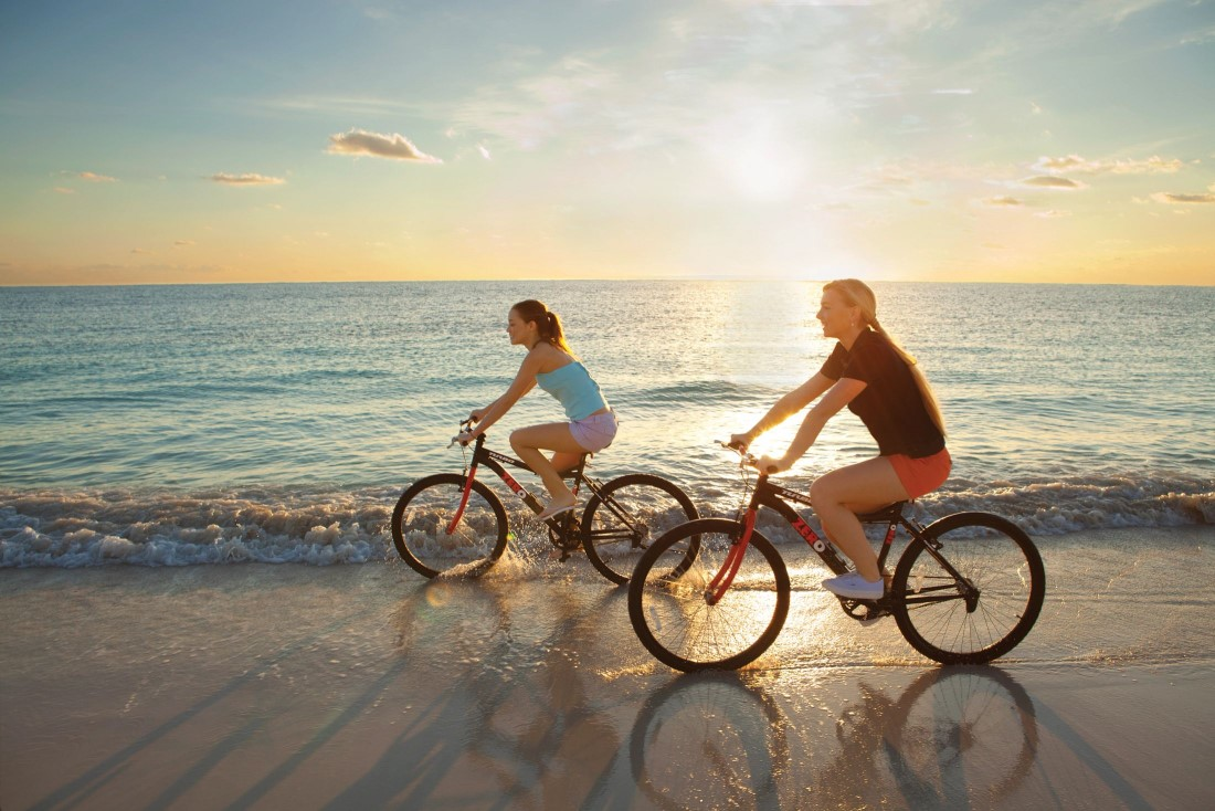 Dolphins jumping in the air in the on-site Dolphinarium at Dreams Puerto Aventuras