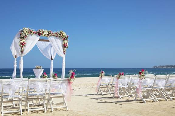 wedding set up on the beach