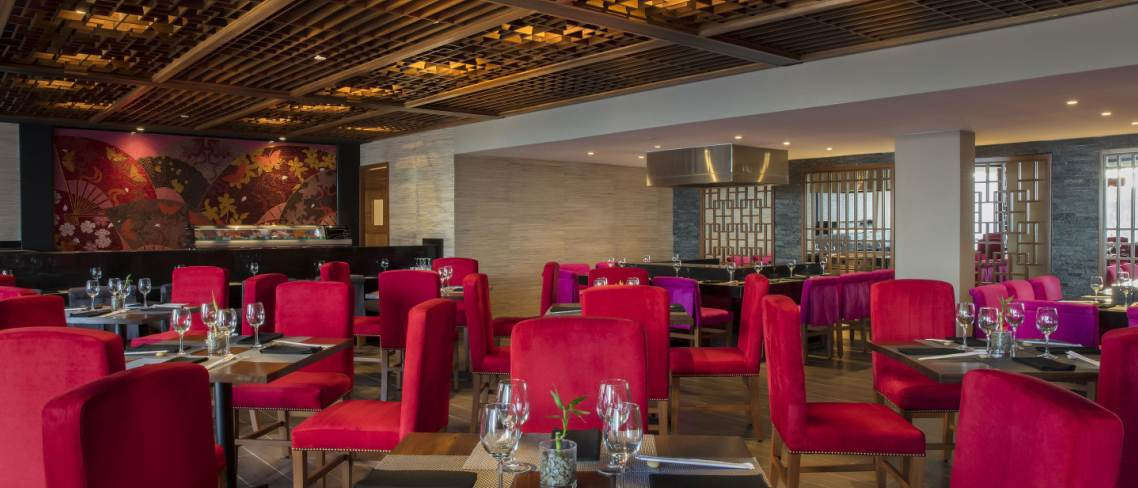 plush red seating in restaurant