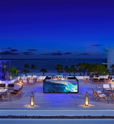 Purple lounge rooftop
