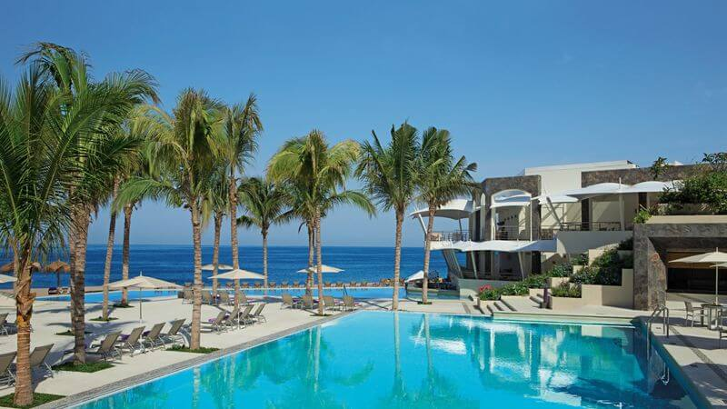 luxury resort ocean front pool and palm trees