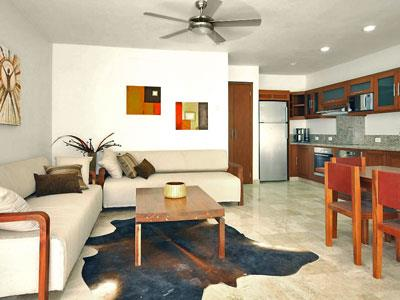 One Bedroom Suite - Living Room and Kitchen